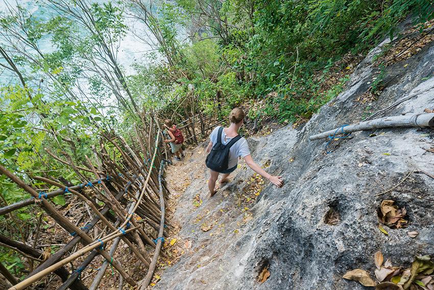 Climbing Down The Cliff Nusa Penida, Bali